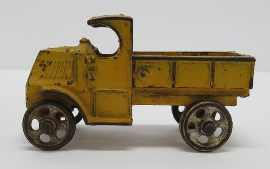 """Cast iron C cab truck with cast wheels, 4 1/4"""""""