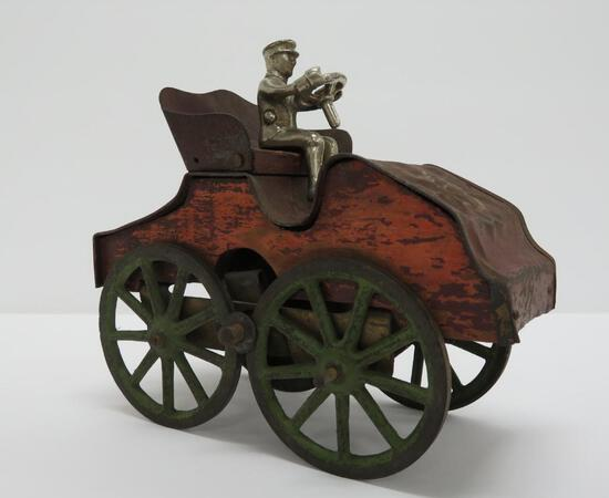 """Clark Hilll Climber car, Wood and cast iron , weighted movement car, 7"""""""