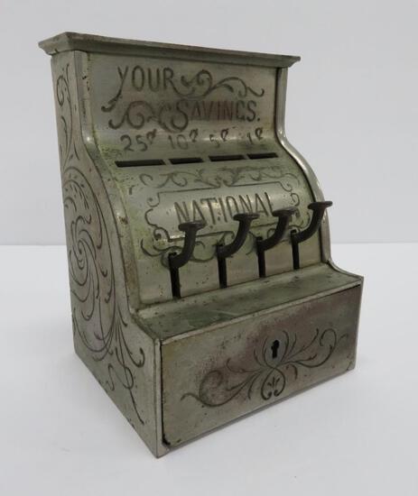 """Your Savings cast iron metal bank, 6 1/2"""" x 5"""""""