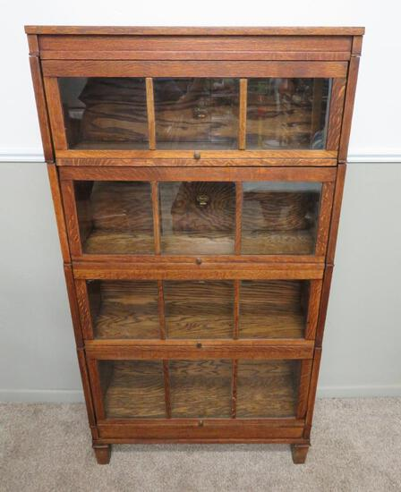 Oak Macey 34-9 four stack lawyer, barrister bookcase