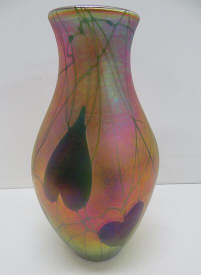 "LC Tiffany vase, 9 1/4"", #7214, heart and vine"