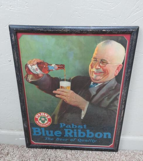Pabst Blue Ribbon framed Advertising