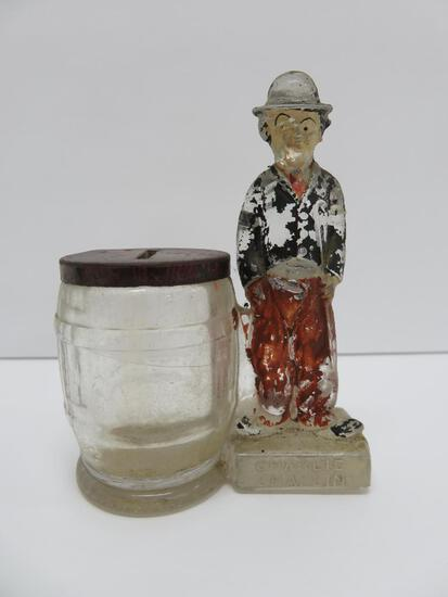 """Charlie Chaplin glass still bank candy container, 4"""", #2862, New York"""