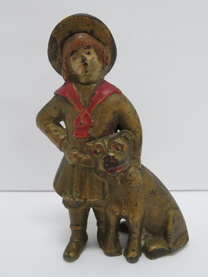 """Buster Brown and Tige cast iron still bank, 5"""""""