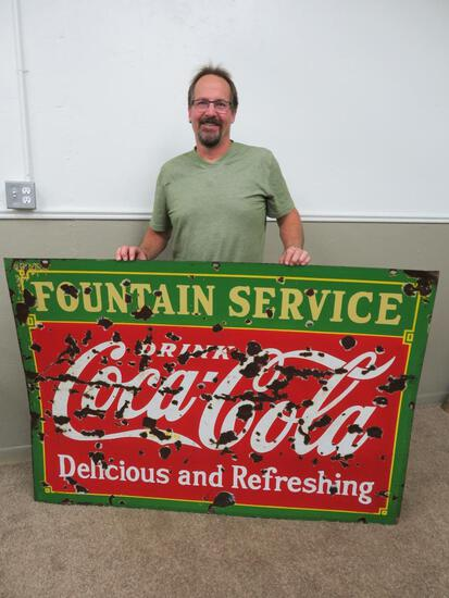 """Large enamel two sided Coca Cola Fountain Service sign, 60"""" x 42"""""""