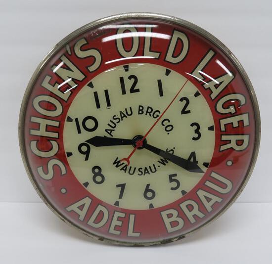 """Nice Schoen's Old Lager Adel Brau clock, Wausau, works, 14 1/2"""""""
