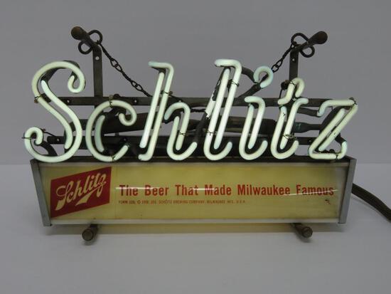 """1958 Schlitz neon sign, works, 14"""", Form 338L"""