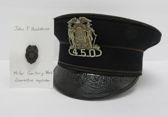 Milwaukee Sanitation Police Quarantine regulator, hat and pin, with documentation