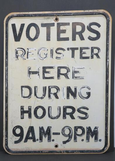 "Voter Registration sign, heavy metal, 18"" x 24"""