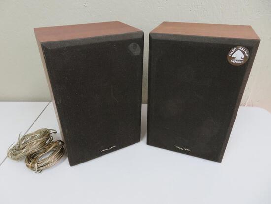 Two vintage book shelf speakers, MCM Realistic MC-800