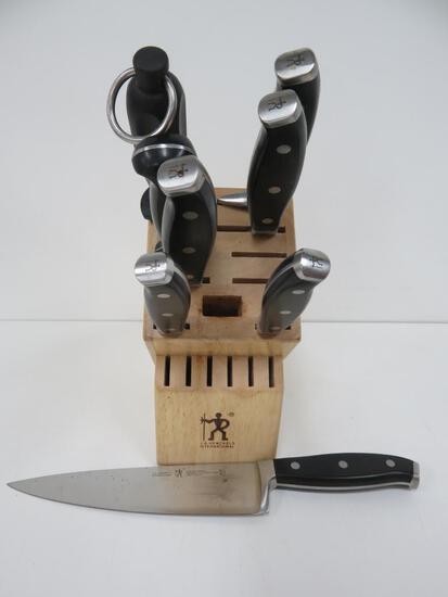 JA Henckels International knives with block, 7 knives and sharpener