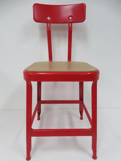 Red metal shop stool utility chair
