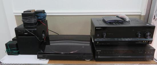Sony stereo system includes, receiver, turntable, home theatre system and CD player