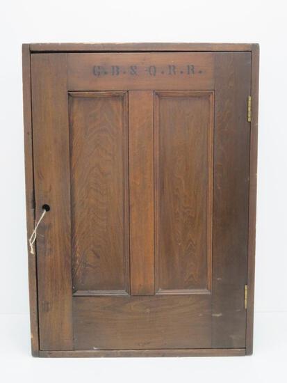 """C.B. & Q RR ticket cabinet, 26"""" x 19"""", 9 1/2"""" deep"""