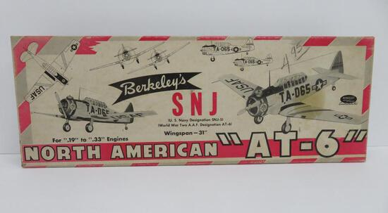 1952 Berkely's SNJ North American AT-6 wooden plane model in box
