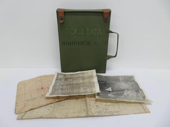 WWII Bomb Data case with maps, targets, and photos