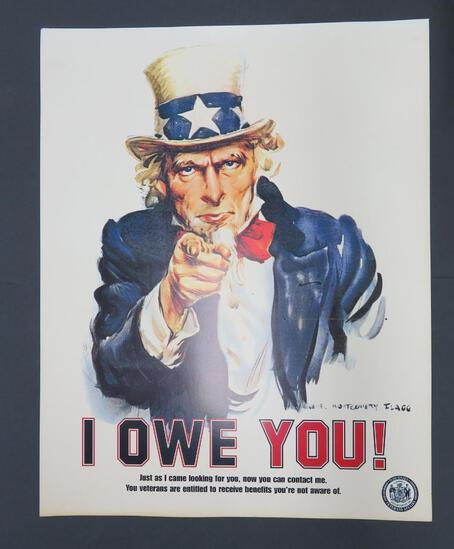 "I Owe You! - veteran military poster, 28"" x 22"""