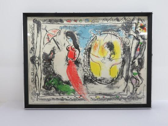Marc Chagall Through the Looking Glass, center fold lithograph, c 1964