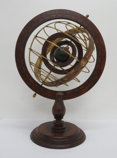 "Wooden and Brass Armillary Sphere, 16"" diameter and 22"" tall, Zona Fredda"