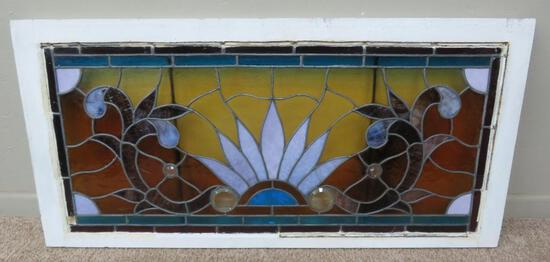 "Lovely stained glass window, 44"" x 21 1/2"""
