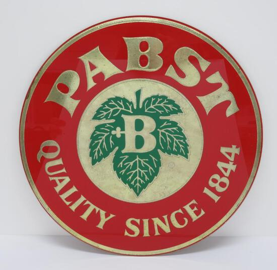 "Reverse painted Pabst sign, 16"" diameter"