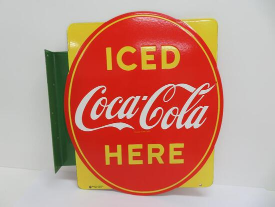 Retro Vintage inspired marked 1951 Canada Iced Coca-Cola Here flange sign
