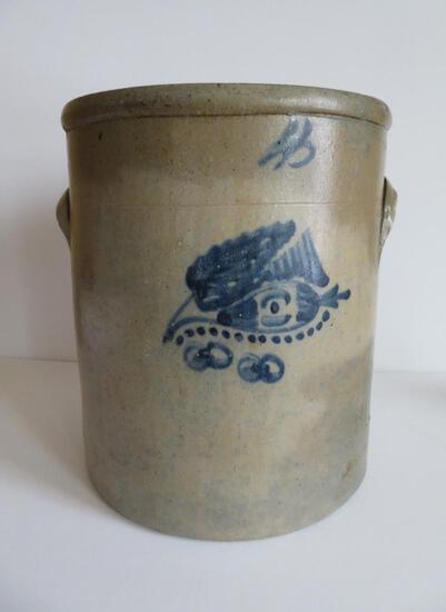 4 gallon Ohio salt glaze and cobalt fishing lure crock, c.1880's