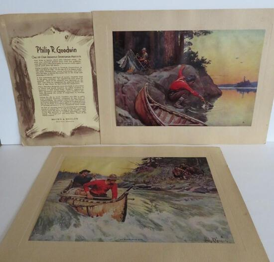 Two Philip Goodwin outdoor art prints by Brown & Bigelow