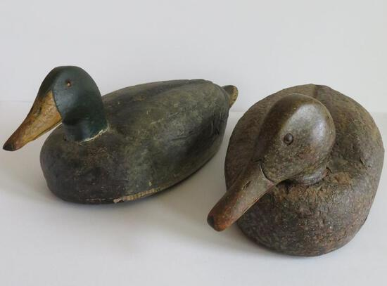 """Two 16"""" vintage wood and cork duck decoys"""