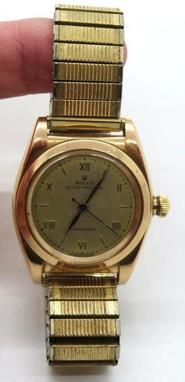 Vintage 14 kt rose gold Rolex 3131 bubble back mans wrist watch, Oyster Perpetual Chronometer