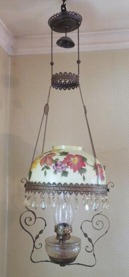 Hanging Lamp, kerosene, prisms and floral shade