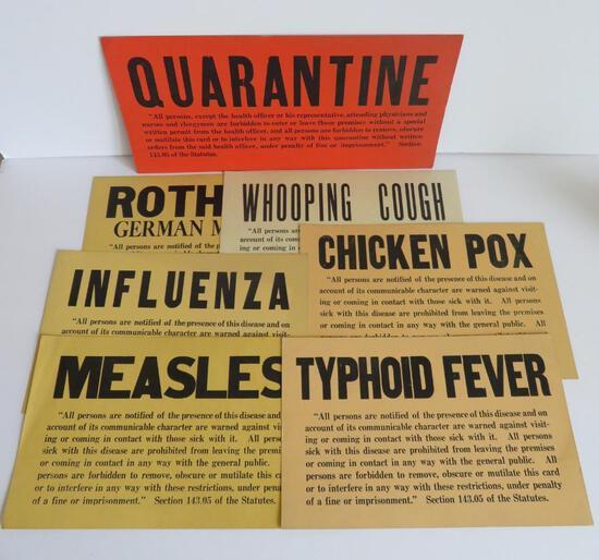 Vintage medical signs, cardboard, Quarantine and diseases