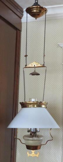 Hanging kersone lamp, brass with milk glass shade, patent 1882