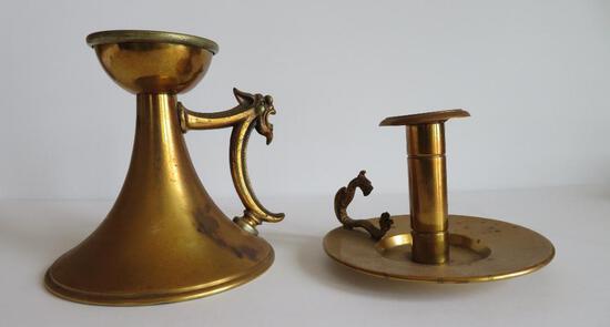 Bradley & Hubbard and gargoyle brass candlesticks