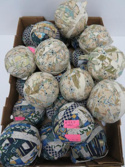 "25 rag balls, patterned, about 5"" diameter"