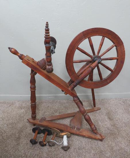 "Antique Spinning wheel, 18"" wheel, 33"" tall"