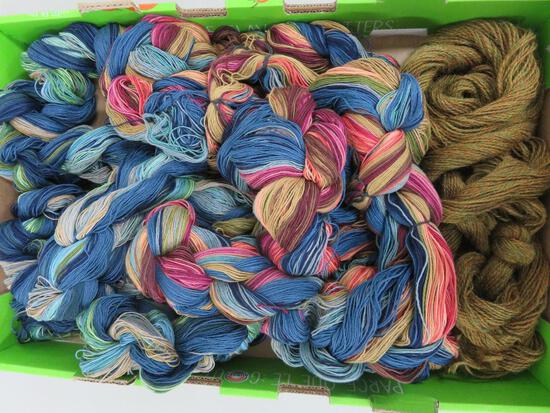 Two large multi color skeins over 8' long, warp