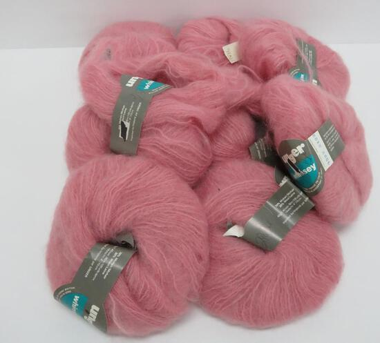 9 skeins of Unger Whimsey, mohair wool, 105 yds each