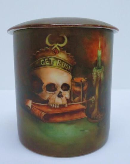 "Skull tobacco humidor, Vienna Austria, 5 1/2"", Get Busy"
