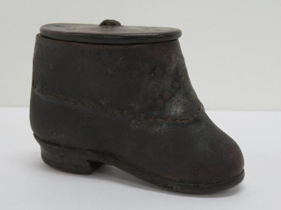 """Wooden snuff box, shoe shape, c 1750's, 4"""" x 2 1/2"""" tall"""