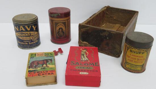 Snuff containers, Salome cigarette and partial Mi Lola cigar box
