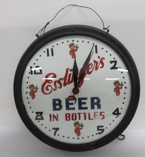 "Esslinger's Beer advertising clock, heavy, working, 19"" round"