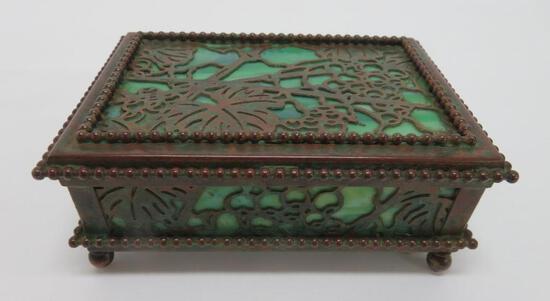 Tiffany Studios NY slag and bronze box, grape and grapevine pattern
