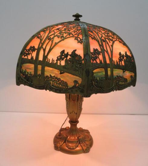 """Slag glass lamp with metal overlay, scenic with cabin, 23"""" tall"""