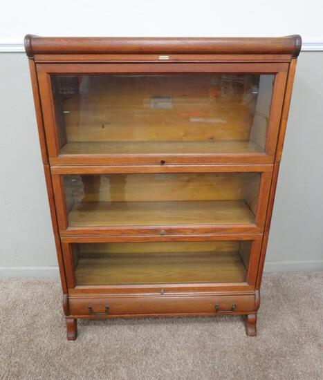 """Lundstrom Three oak stacking lawyers bookcase with drawer, 48"""" tall"""