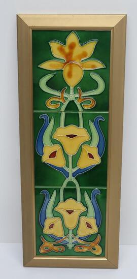 """Three part Art Nouveau framed tile, floral, 29"""" x 8"""""""