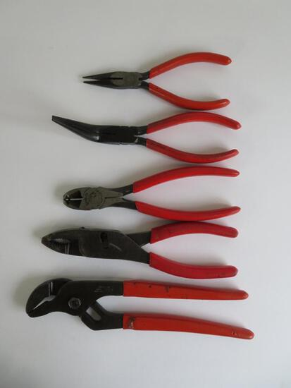 Five Snap-On pliers