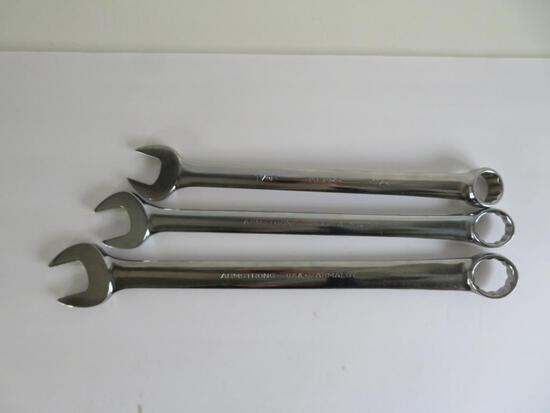 Three Armstrong Armaloy combination wrenches, 12 point