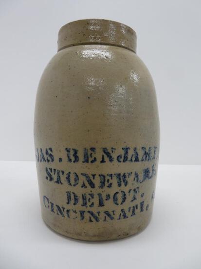 "Jas Benjamin Stoneware Depot, stoneware sealer jar, Cincinnati OH, 10"""