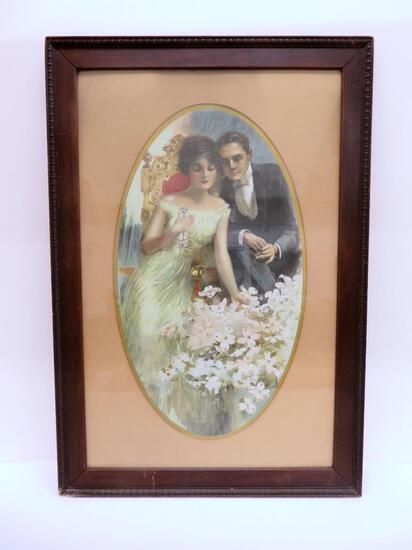 "Stuart Travis framed print, courtship, 21 1/2"" x 31 1/2"""